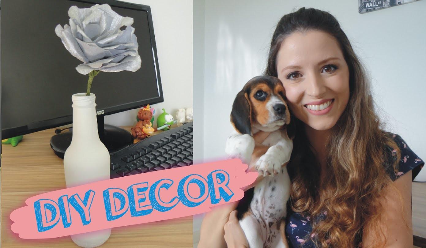 DIY Decor - reciclagem de garrafa + flor de papel crepom | Lilian Luz
