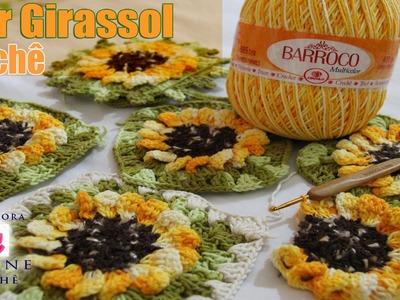 Flor Girassol em crochê - Professora Simone