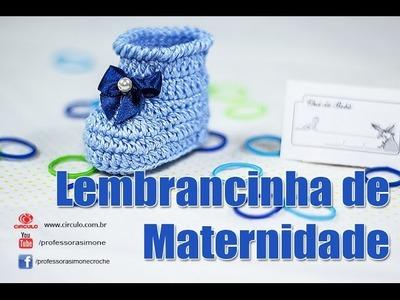 Lembrancinha Maternidade Botinha em Crochê - Professora Simone