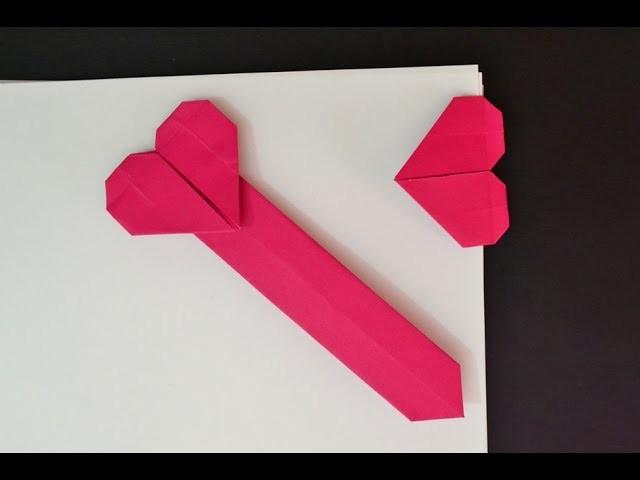 Origami: Marca página de coração