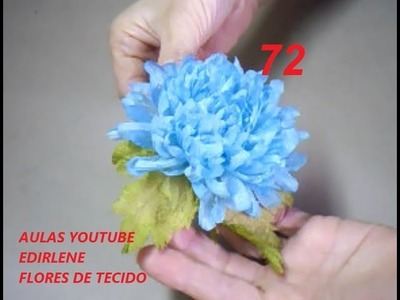 AULA 72:  CRISÂNTEMO AZUL - Flores para cabelos e roupas (com tingimento)