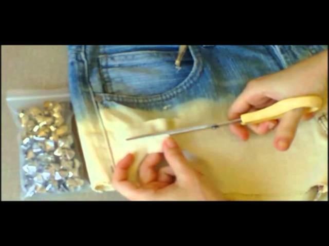Customização: short com tachas e efeito com alvejante (bleached studded shorts)