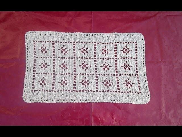 Passadeira tapete caminho de mesa croche facil marrom parte 1