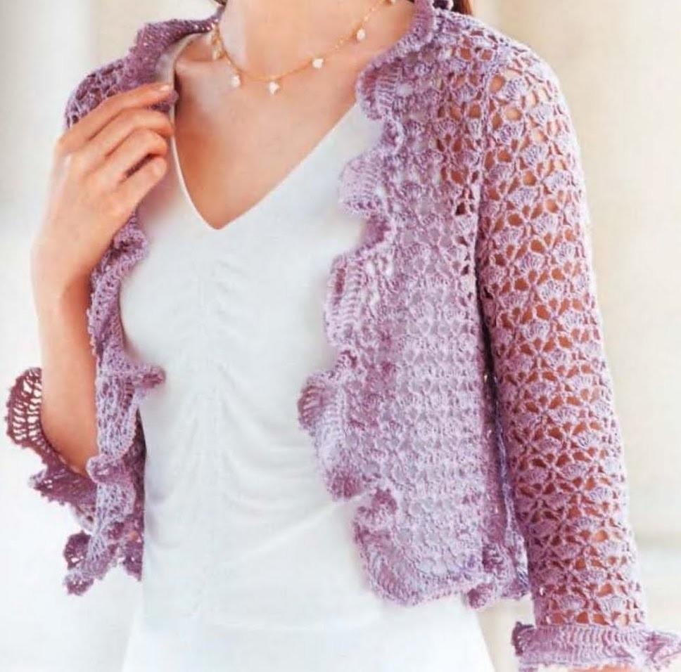 Bolero Lila Calado Fácil a crochet
