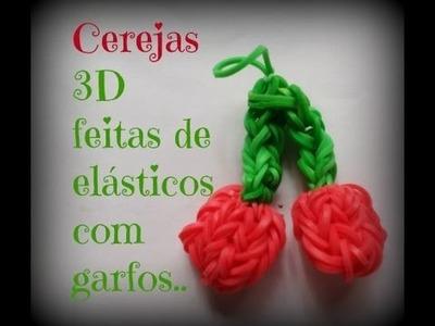 Cerejas 3D de elásticos, feitas com garfos.