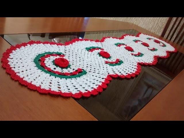 Como executar o trilho de mesa em crochê com 5 rosas parte 2