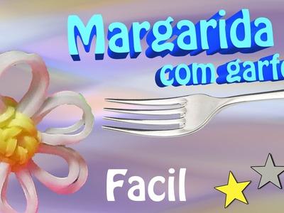 Como Fazer uma Margarida com garfos e elasticos rainbow loom bands