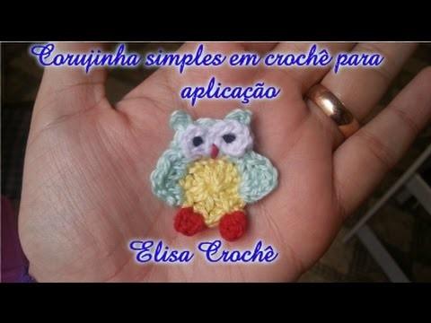Corujinha simples em crochê para aplicação # Elisa Crochê