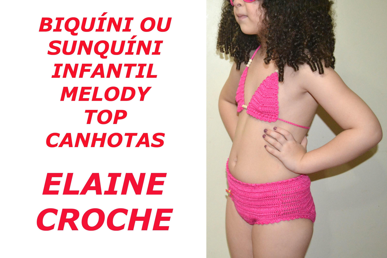 CROCHE PARA CANHOTOS - LEFT HANDED CROCHET - BIQUÍNI INFANTIL MELODY EM CROCHÊ TOP CANHOTAS
