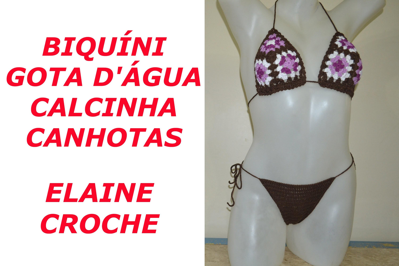 CROCHE PARA CANHOTOS - LEFT HANDED CROCHET - BIQUÍNI CROCHÊ GOTA D' ÁGUA CALCINHA - CANHOTAS