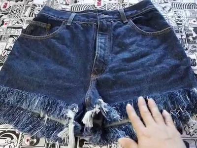 Diy: Melhor técnica para desfiar shorts jeans - customizei meu closet