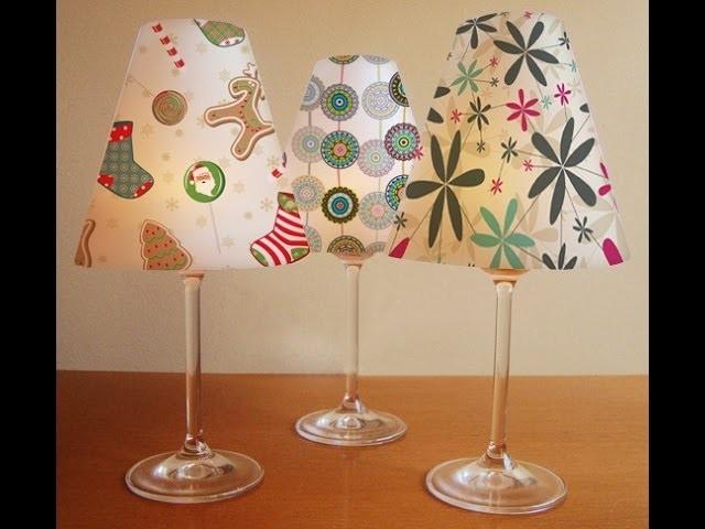 Mini Abajur feito com taças decoração para o natal