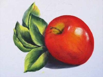 Pintura em tecido - Como pintar maçã vermelha