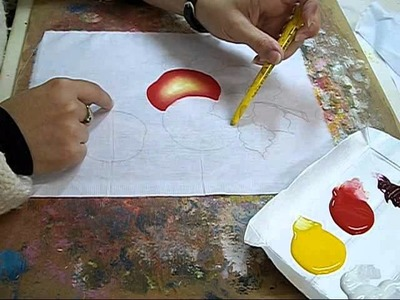 PINTURA EM TECIDO - How to paint apple -  VIDEO AULA MAÇÃS 1