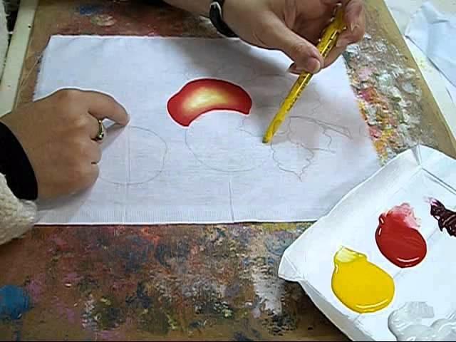 PINTURA EM TECIDO - How to paint apple -  VIDEO AULA MAÇÃS 1