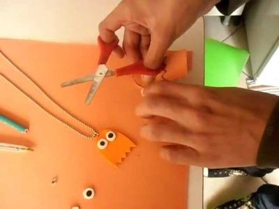 TUTORIAL : Como fazer um colar de EVA? (Fantasminha do Pacman)
