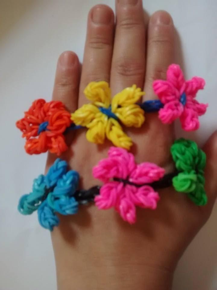 Como Fazer Pulseiras de Elástico: ( Flor )  #LoomBands (sem tear)