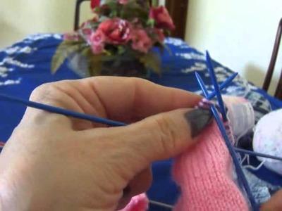 Vídeo Aula meia de tricô para bebê Parte 2