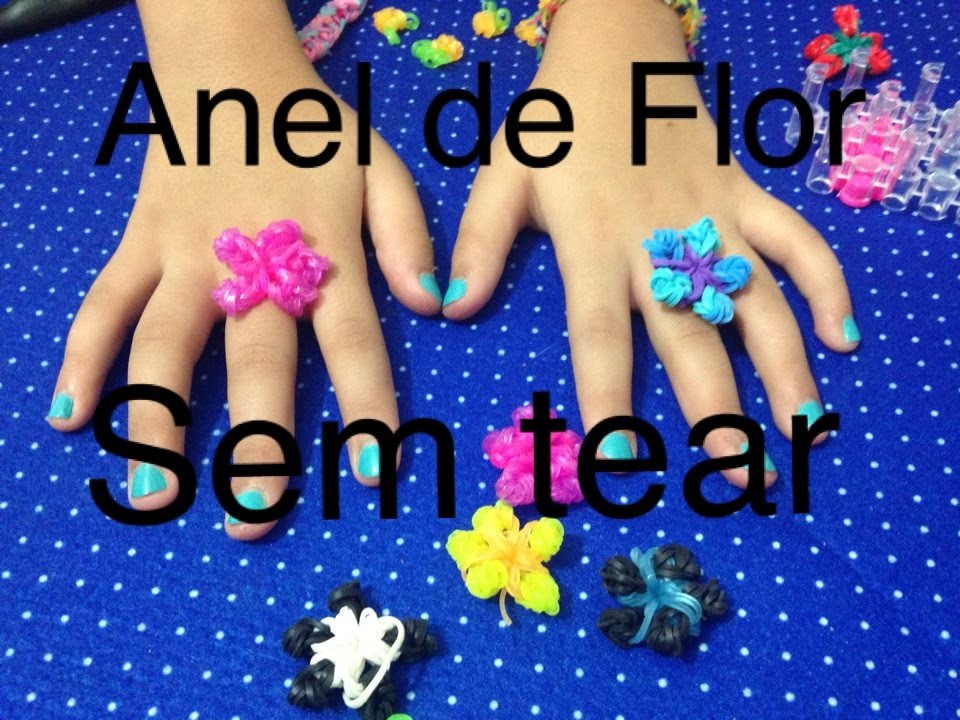 Anel de Flor Rainbow Loom sem tear- por Furbys Legais