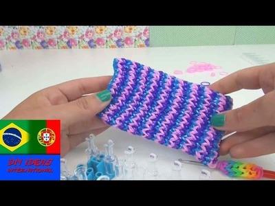 Como fazer capa para smartphone com elásticos instruções Rainbow Loom celular