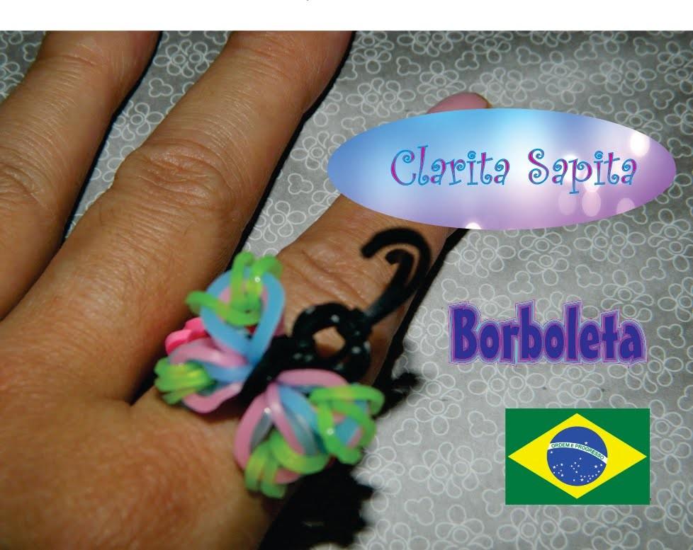 Como fazer um anel de borboleta de elástico (Rainbow loom) #3