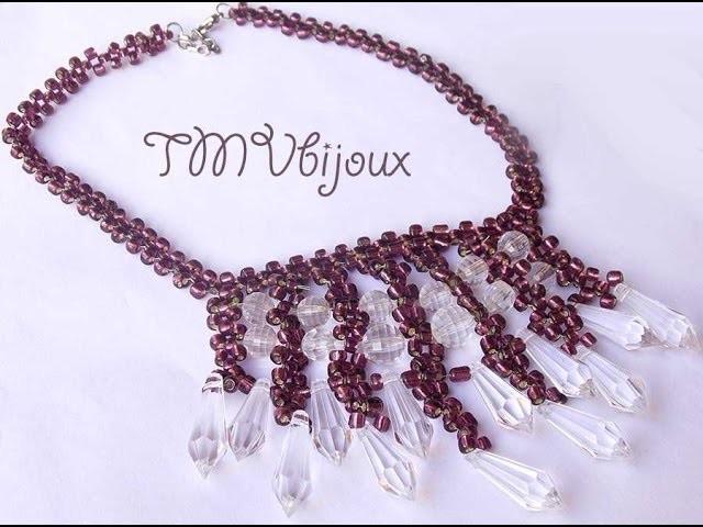 DIY - Maxi Colar burgundy, entrelaçado de miçangas e cristais
