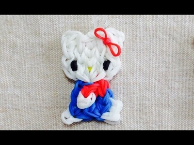 Hello Kitty pingente com elasticos coloridos rainbow loom bands
