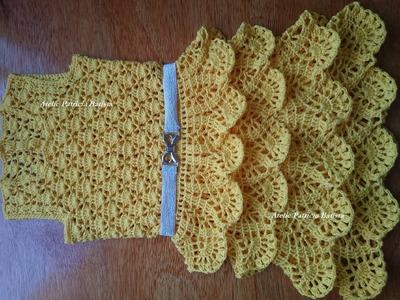 Vestido infantil feito em crochê com saia de babados Parte 5 final