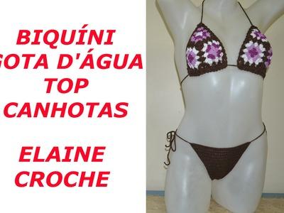 CROCHE PARA CANHOTOS - LEFT HANDED CROCHET - BIQUÍNI CROCHÊ GOTA D' ÁGUA - TOP - CANHOTAS