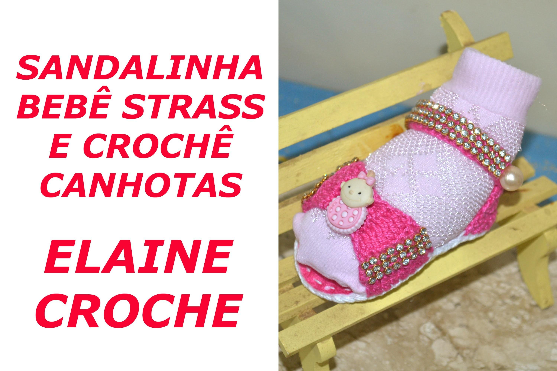 CROCHE PARA CANHOTOS - LEFT HANDED CROCHET - SANDALINHA BEBÊ STRASS E CROCHÊ - CANHOTAS
