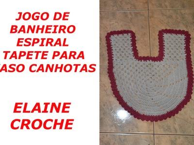 CROCHE PARA CANHOTOS - LEFT HANDED CROCHET - JOGO BANHEIRO ESPIRAL EM CROCHÊ - TAPETE VASO