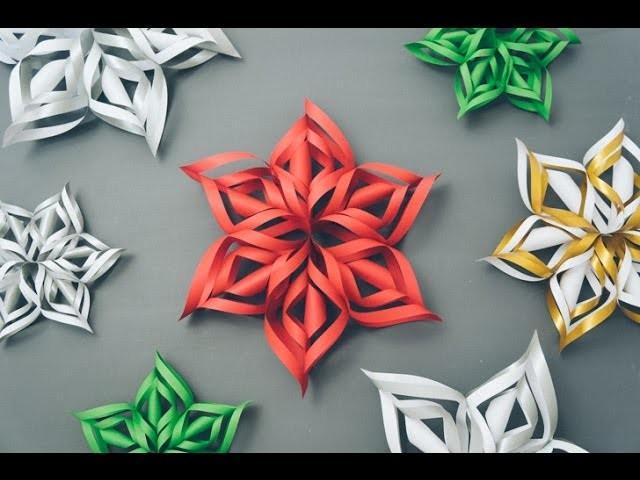 Como fazer flocos de Neve 3d com Papel - Decoração Festa Frozen - Paper Snowflakes EASY DIY