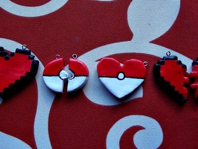 DIY - Cordão coração em pixel (Zelda) e pokébola (Pokémon) - Especial Dia dos Namorados