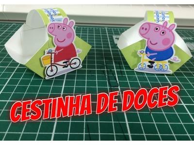 DIY | Como fazer forminha de doce - cestinha de doce - Peppa e george Pig