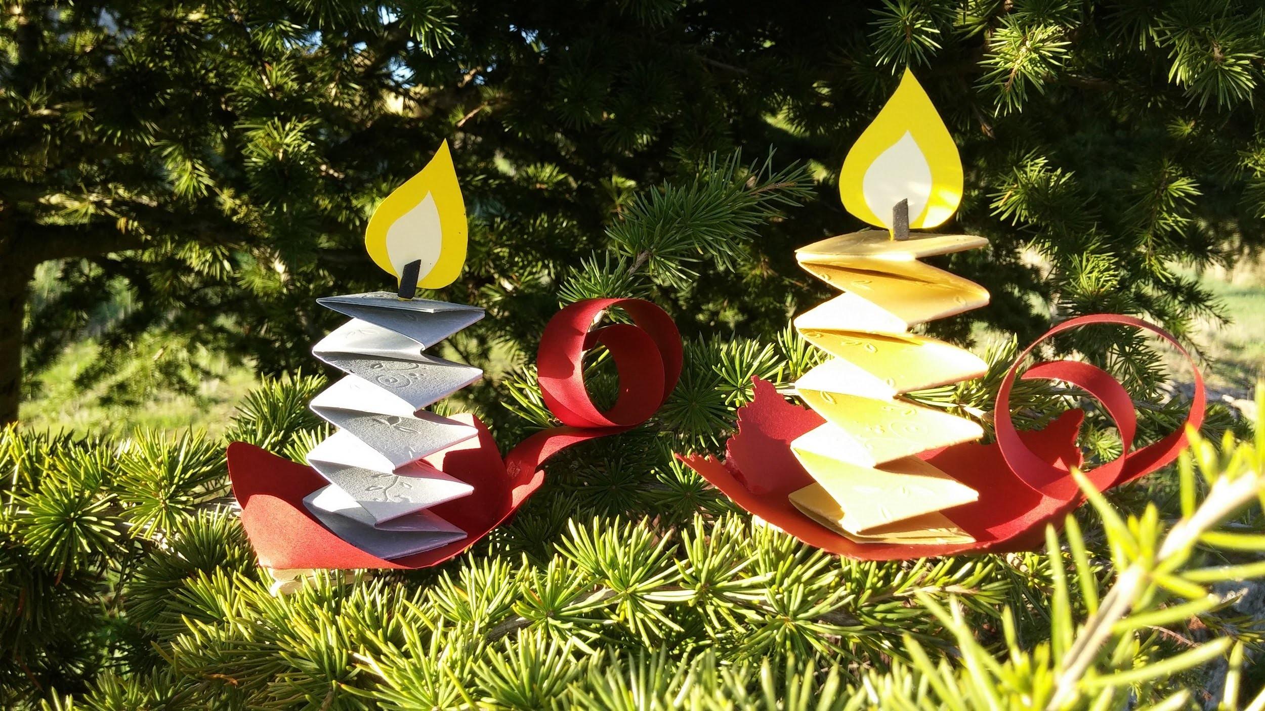 Como fazer enfeites de Natal com velas - DIY - Christmas decorations candles
