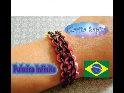 Como fazer uma pulseira infinito de elástico (Rainbow loom) #11