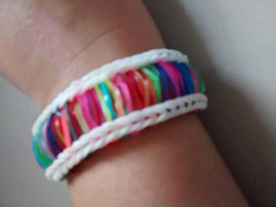 ♥  Como fazer Pulseira de elástico Multicor ( COM TEAR ) passo a passo   Rainbow Loom  ♥