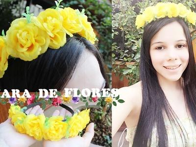 DIY:  Tiara de flores - Rápido e Fácil