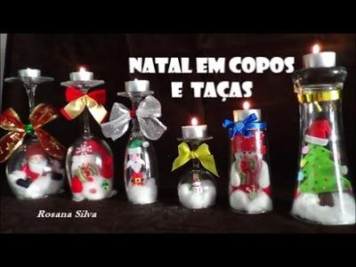 DIY 6 DECORAÇÃO de NATAL SUPORTE de VELAS em TAÇAS e COPOS