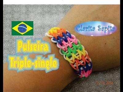 Como fazer a pulseira triple single de elástico (Rainbow loom)  #7