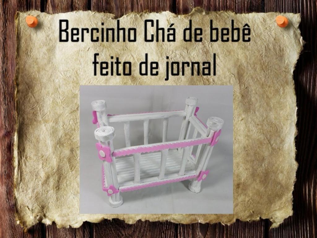21 - Artesanato e Reciclagem DIY - Berço para chá de bebê feito de jornal - baby shower decoration