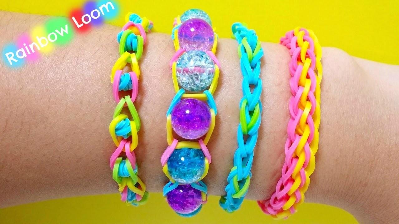 4 Rainbow Loom Bracelet - Pulseira de elástico 4 modelos (sem tear) - ファンルームブレスレット-レインボールーム