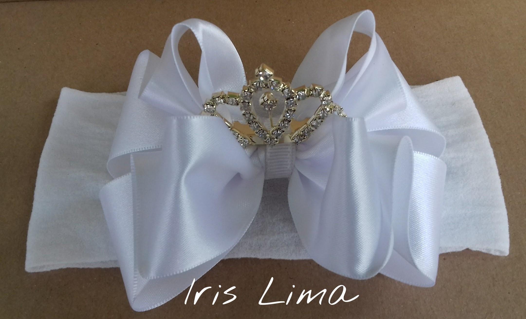 Como fazer laço de fita de cetim com coroa na faixa de meia de seda DIY PAP By Iris Lima