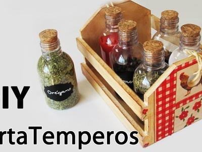 DIY: Como Fazer um Porta Temperos Decorado (Artesanato em MDF. Decoupagem Guardanapo)