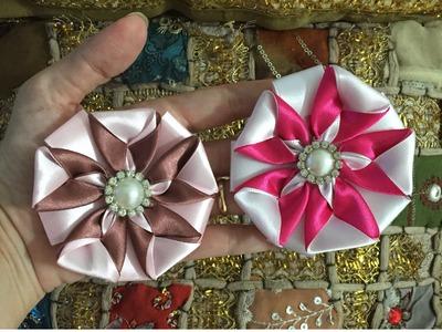 Flor de fita com duas cores - PAP - Cris Albuque