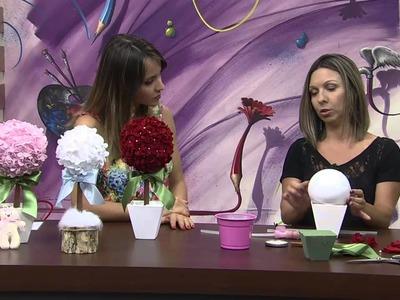 Mulher.com 08.12.2014 - Topiares de Flores de Feltro por Karina Raszl