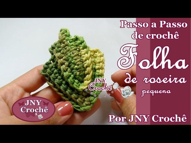Folha de Roseira pequena por JNY Crochê