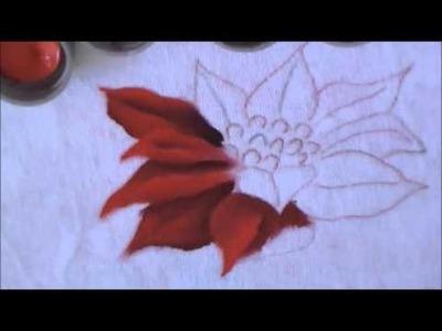 Como pintar a flor de natal, bico de papagaio - pintura em tecido