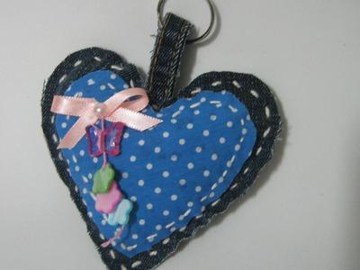 DIY Chaveiro Coração Jeans