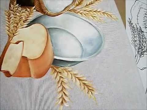 Pintura em Tecido - como pintar Trigo e Farinha - how to paint wheat and flour